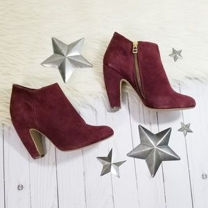 Steve Madden Panelope dark red suede ankle boots
